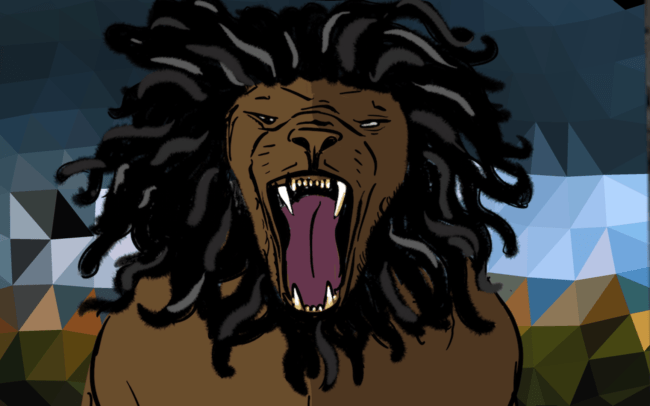 Reggae lion with open mouth and polyart background